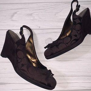 Coach Shoes - Coach Brown Logo Canvas & Suede Wedges